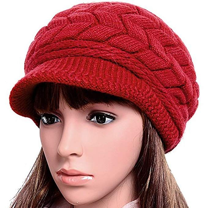 3c1a9063a Women Lady Braided Warm Cabled Knit Winter Beanie Crochet Hats ...