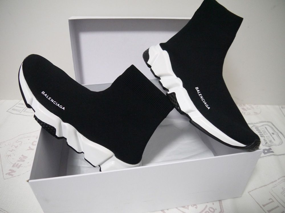 Balenciaga Speed Trainer Knit Sock Black White Us Size 8 Men S