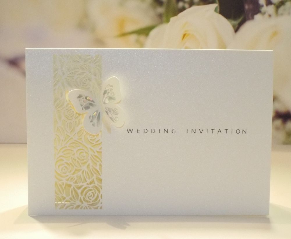 Laser Cut Ivory Lattice Rose Holographic Butterfly DIY Wedding ...