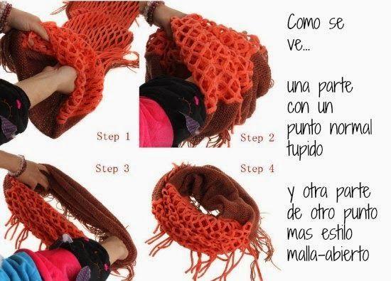 Cómo confeccionar Una bufanda diferente | Crochet y dos agujas ...