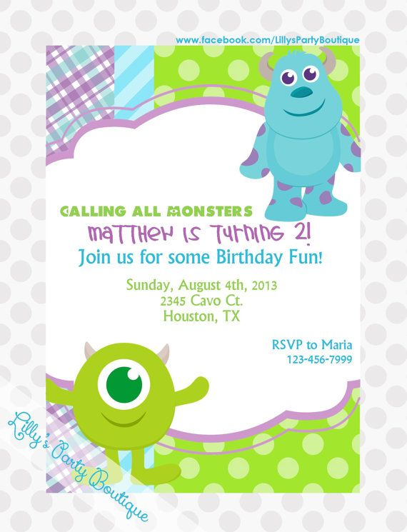 School Monsters Invitations by LillysPartyBoutique on Etsy Ashers