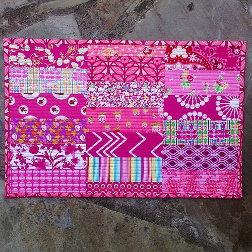 Scrappy pink quilted placemat