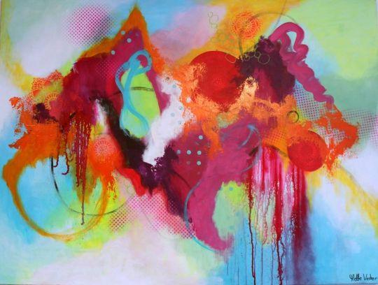 Kulørt kunst - farvestrålende maleri Kunstner Mette Vester