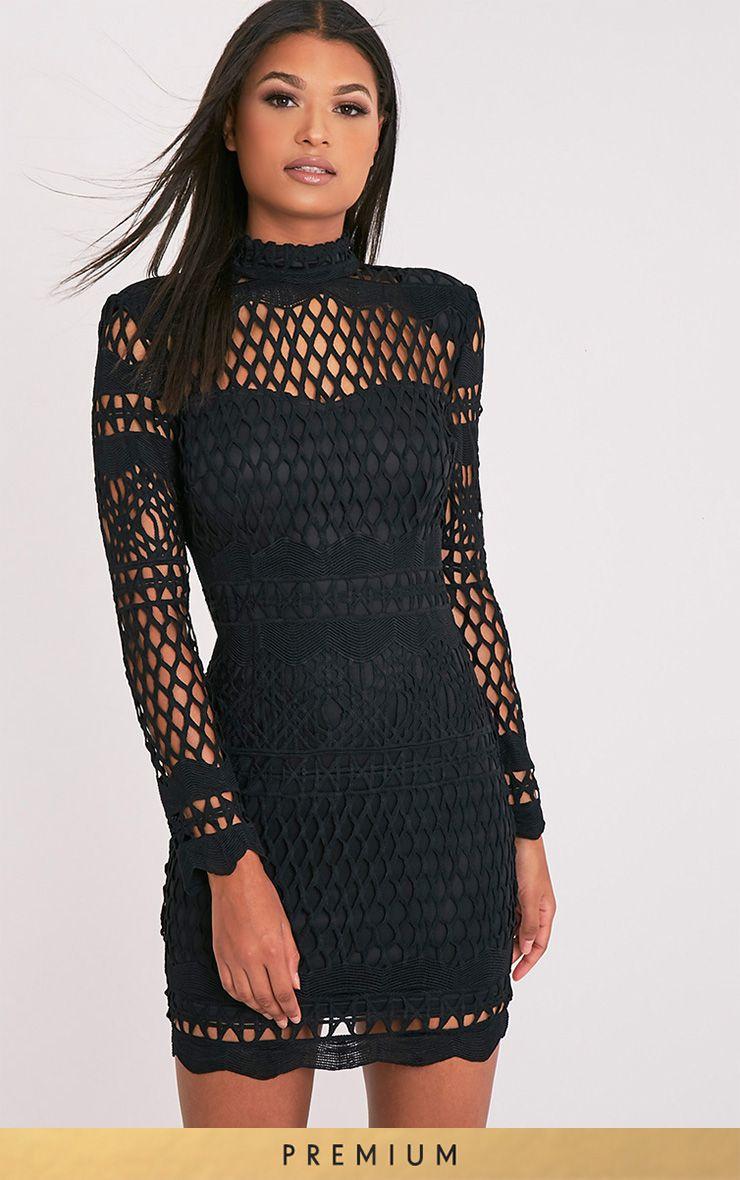 Lexi black crochet lace long sleeve bodycon dress clothes