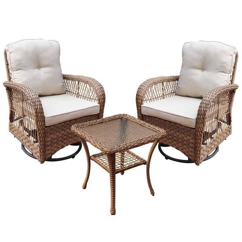 Canora Grey Melendy Swivel Conversation 3 Piece Rattan Seating Group With Cushions Reviews Wayfair In 2021 Beige Cushions Seating Groups Conversation Set