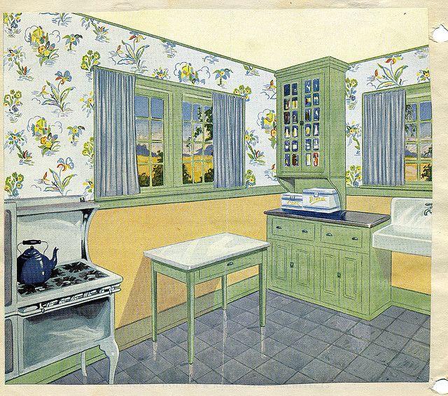 1920s Kitchen Curtains: Retro Home, Vintage Kitchen, 1920s