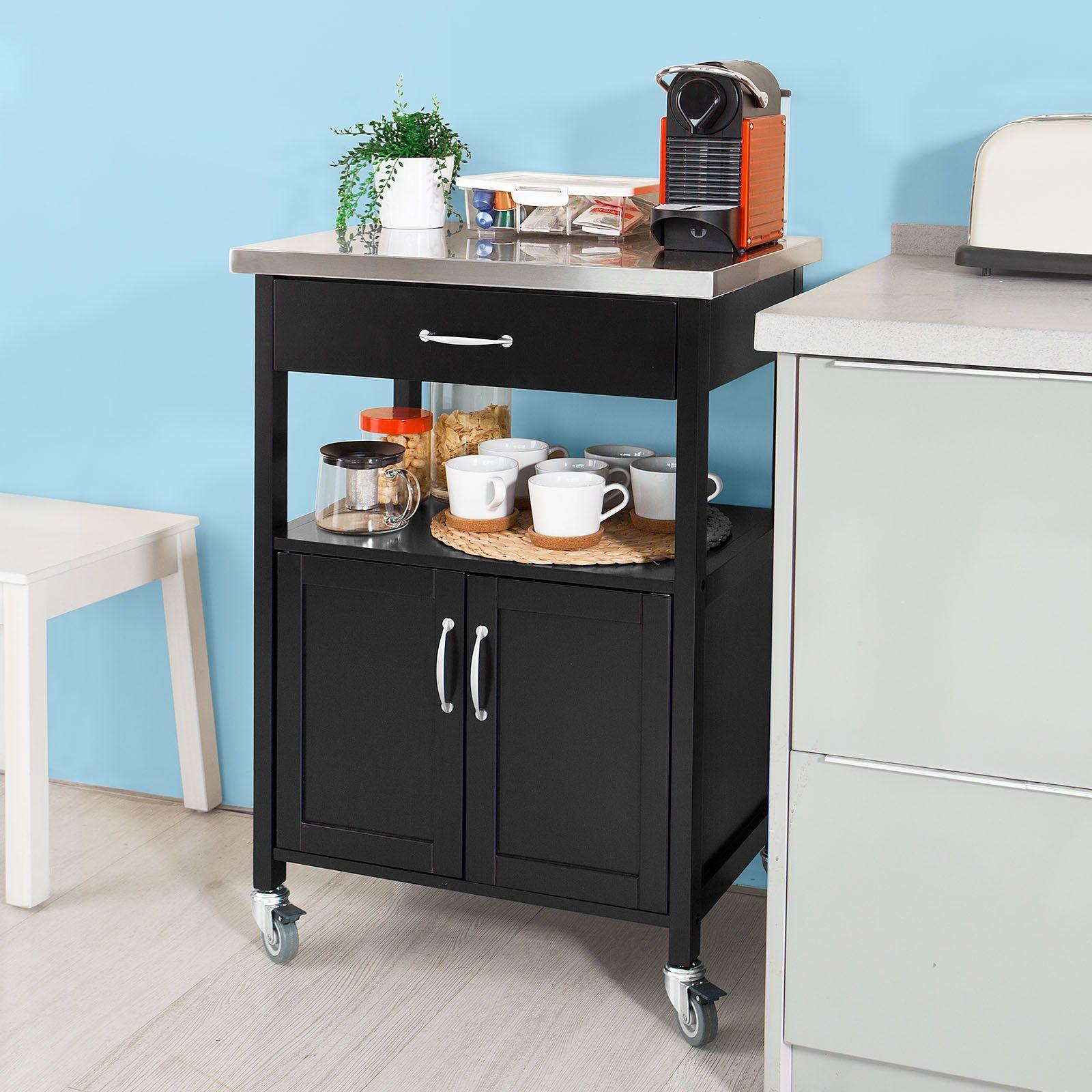 sobuy servierwagen k chenwagen rollwagen mit edelstahlarbeitsplatte getr nkewagen f rs b ro. Black Bedroom Furniture Sets. Home Design Ideas