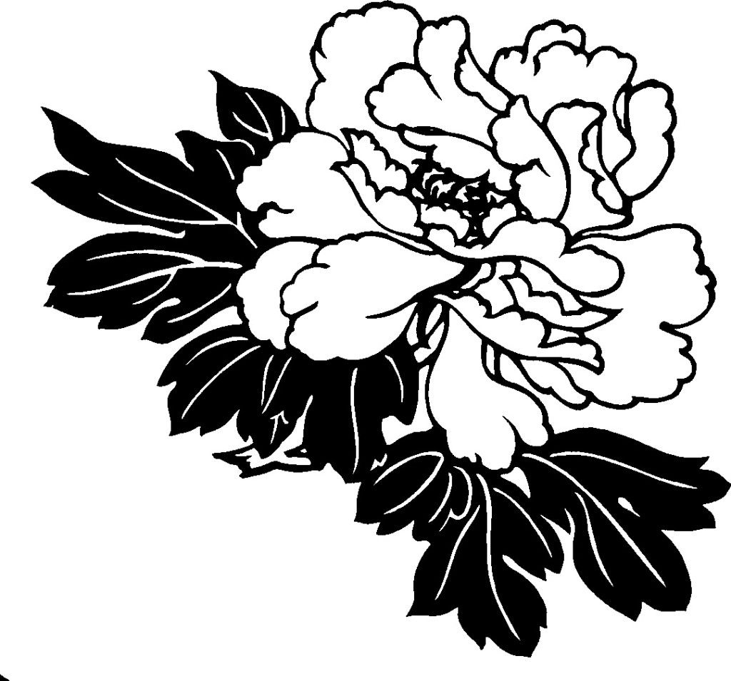 hawaiian flower clipart black and white clip art