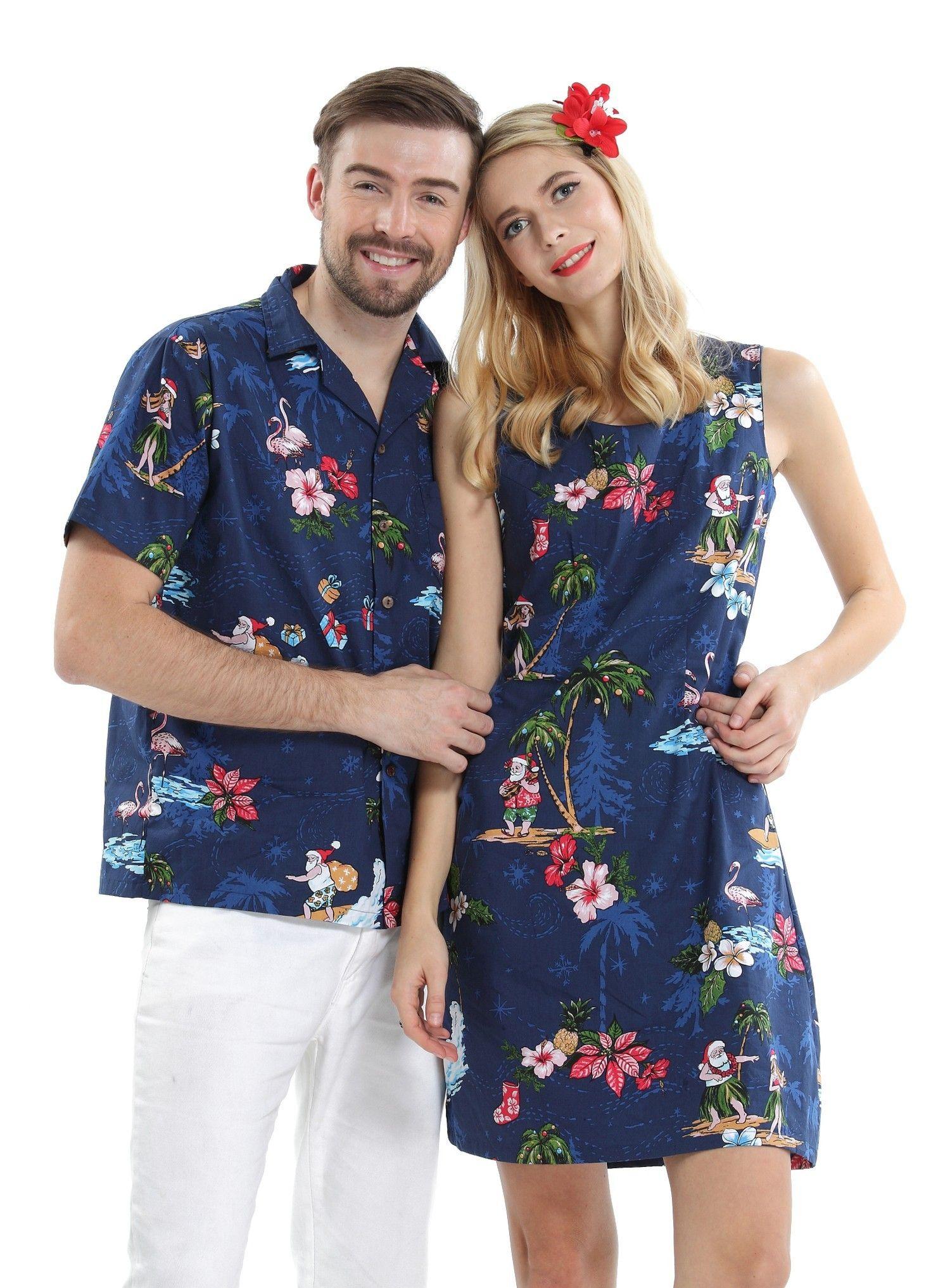 9b9f26c114 Couple Matching Men Aloha Shirt and Women Dresses in Santa Navy ...