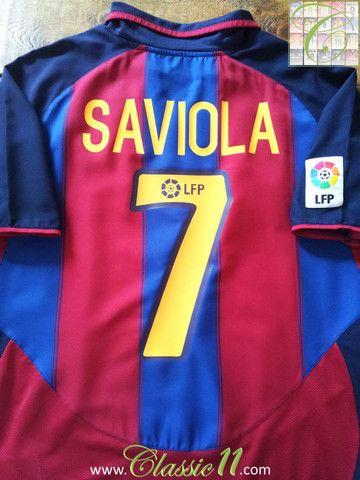 c2a77239757 Relive Javier Saviola s 2003 2004 La Liga season with this vintage Nike  Barcelona home football shirt.