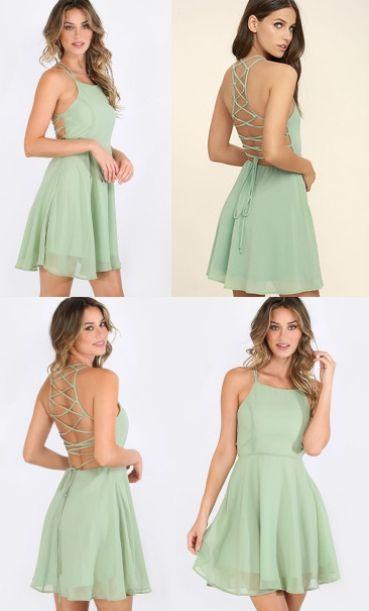 Hot Sale Splendid Sleeveless Homecoming Dresses, Mint Sleeveless ...