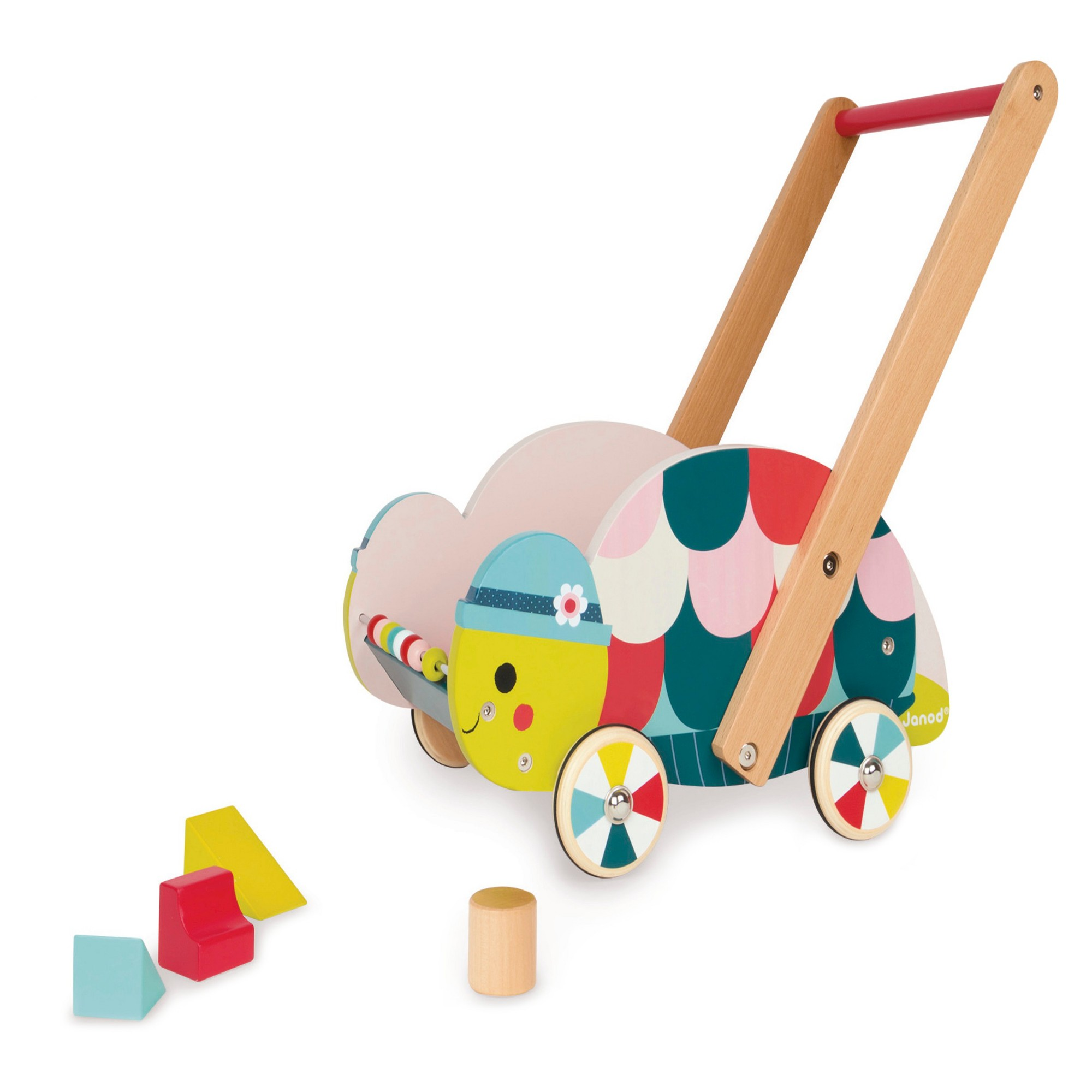 Janod Forest Turtle Trolley 12 Block | Toys, Wooden cart ...