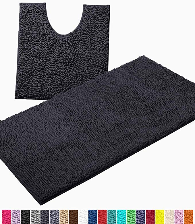 Amazon Com Luxurux Bathroom Rugs Luxury Chenille 2 Piece Bath Mat Set Soft Plush Anti Slip Shower Rug Toilet Mat 1 In 2020 Bath Mat Sets Bathroom Rugs Shower Rugs