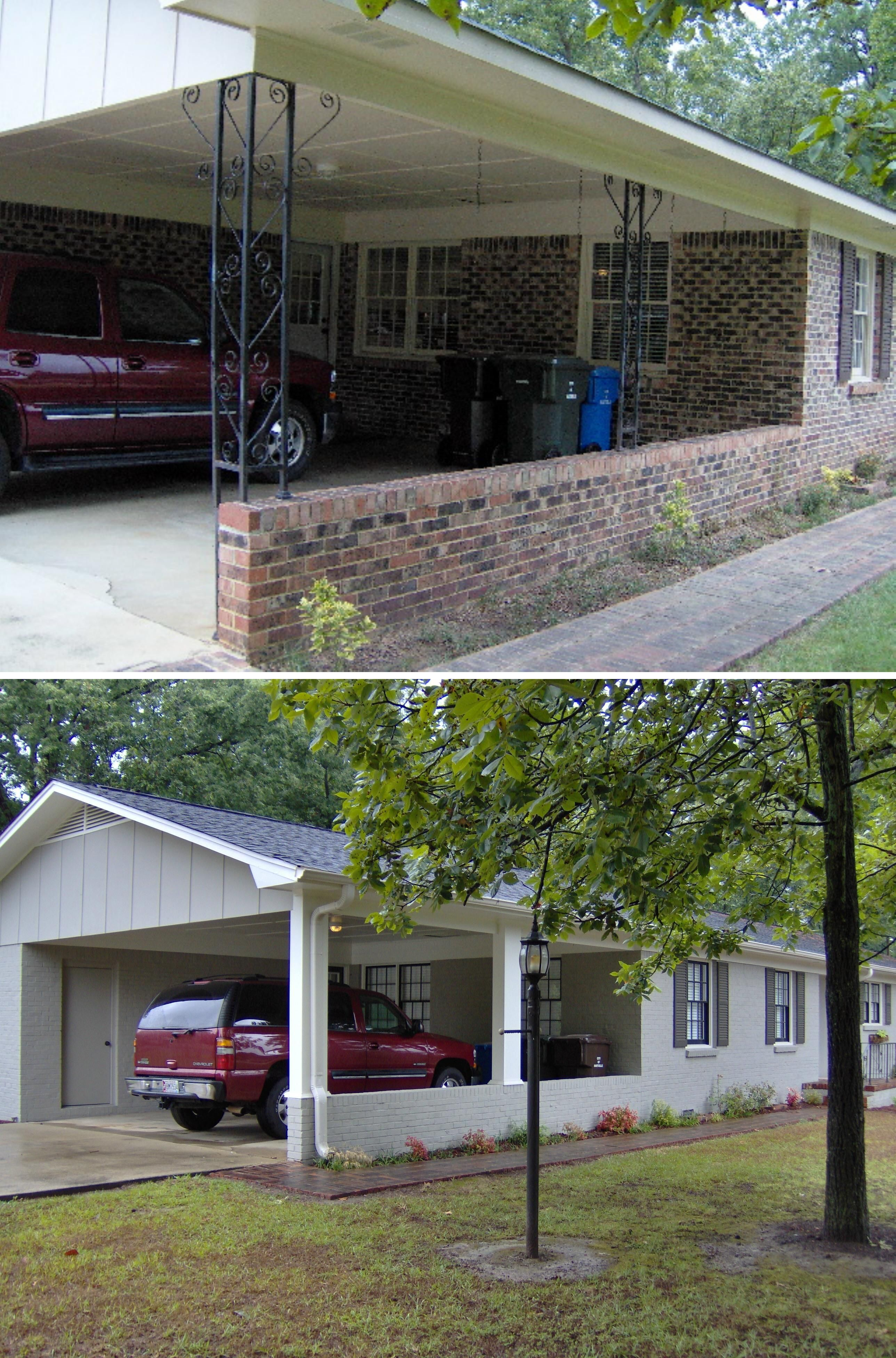 Before and after this 60 39 s brick rancher had dated brick for 60s house exterior makeover