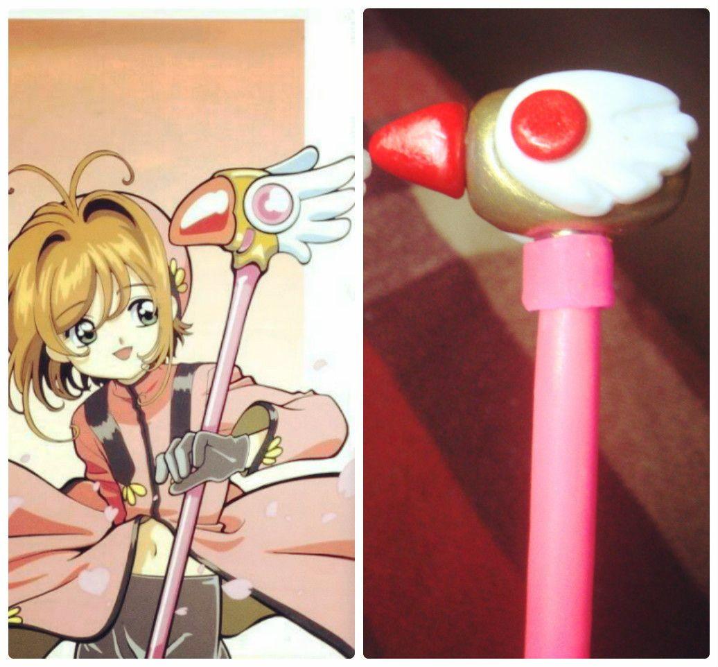 Sakura Card Captor caneta cetro estrela em biscuit. Feita com caneta BIC, pode trocar a carga quando terminar a tinta.