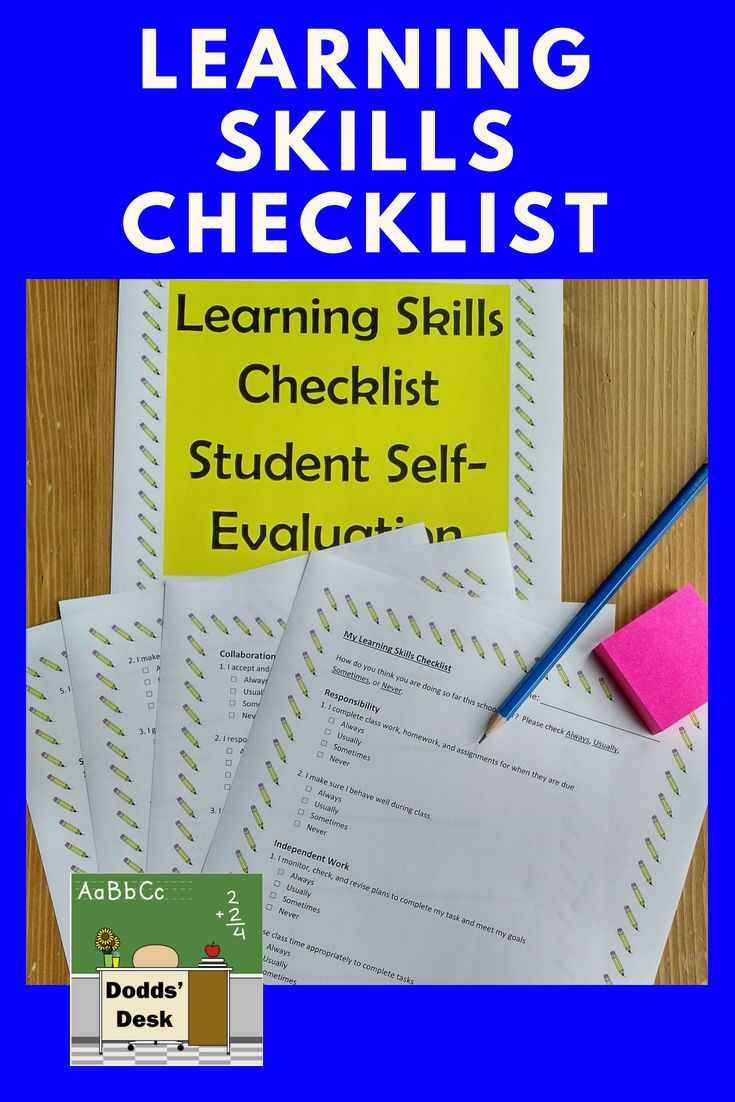 Learning Skills Checklist Student selfevaluation (With