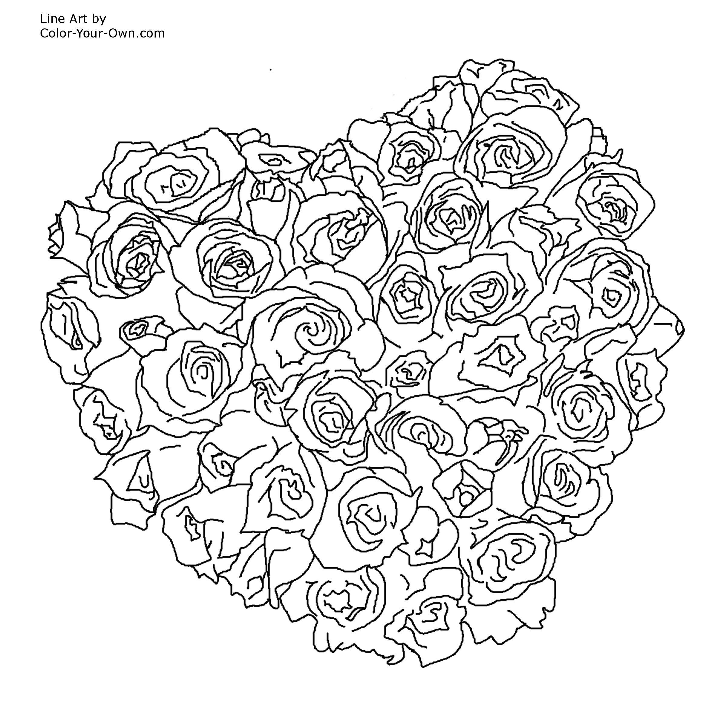 Coloring sheets roses - Valentine Heart Of Roses Bouquet Coloring Page
