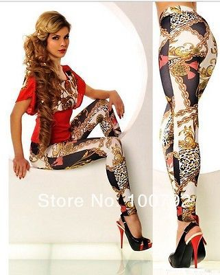 fashion clubwear colorful chain tattoo jeans look leggings for women