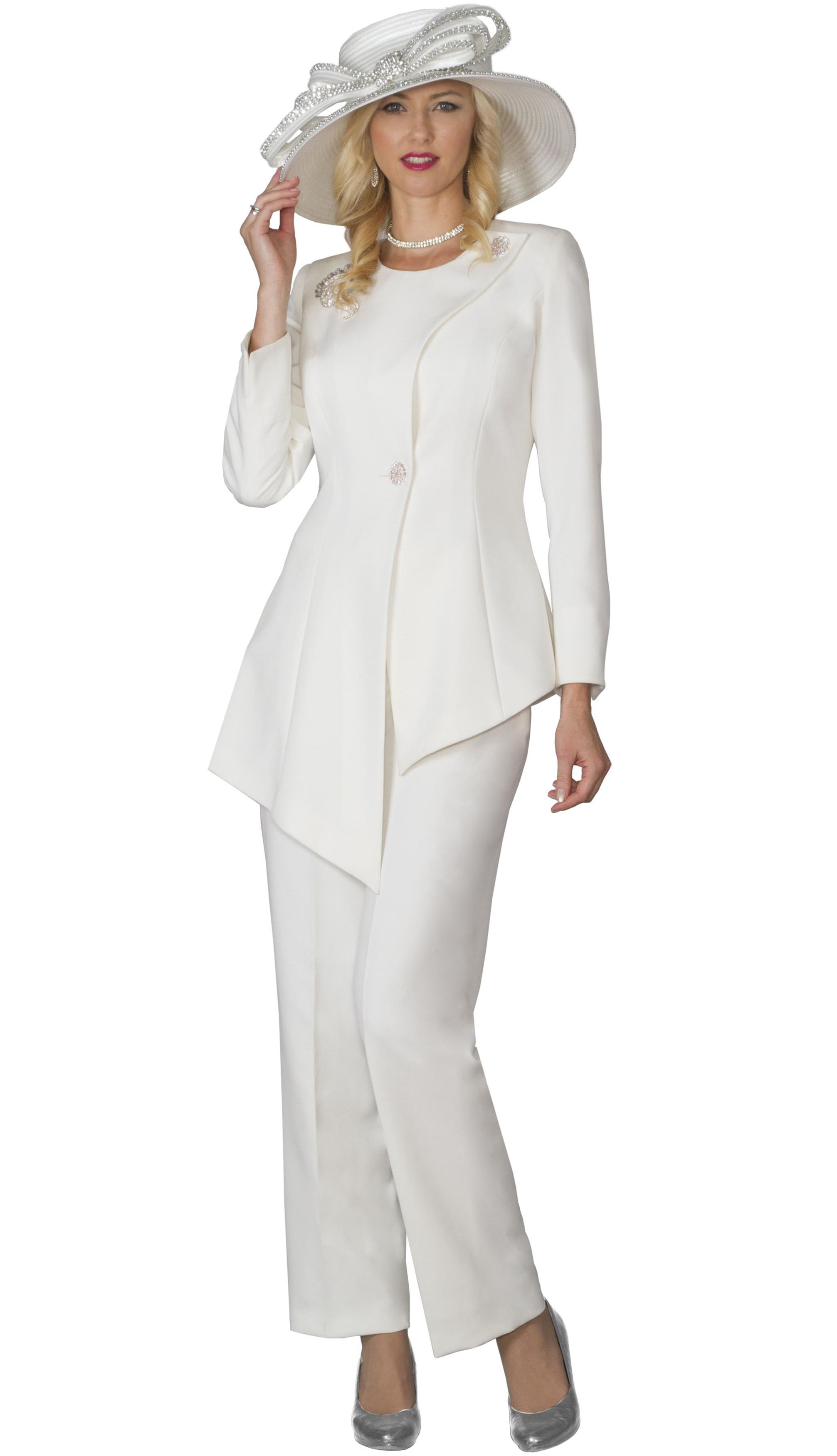 b9f7ad638ce Style Lily and Taylor 4028 2 Piece Womens Pant Suit With Asymmetric Style  Jacket Colors Ivory Red Black Sizes 4 6 8 10 12 14 16 18 20 22 24