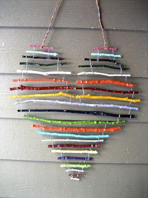 DIY Kids Craft - heartfelt stick art