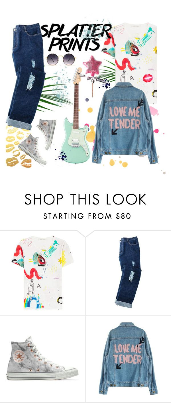 """""""Splatter Sprints + Jeans"""" by mikaell-fw ❤ liked on Polyvore featuring Marc Jacobs, Avon, Converse and Spitfire"""