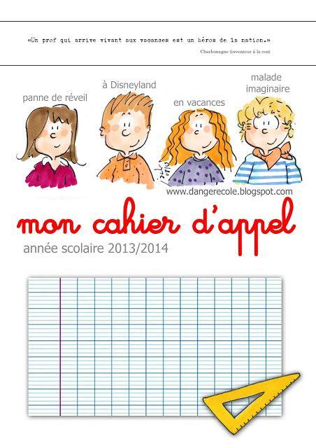 Couverture cahier d 39 appel affichage pour la classe danger cole ducation et enseignement - Dessin maitresse ecole ...