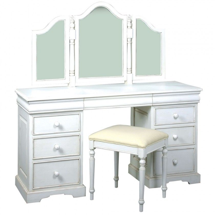 Good Exclusive White Polished Ogee Edge Cherry Wood Vanity Table Design Be  Equipped Six Drawers Wooden