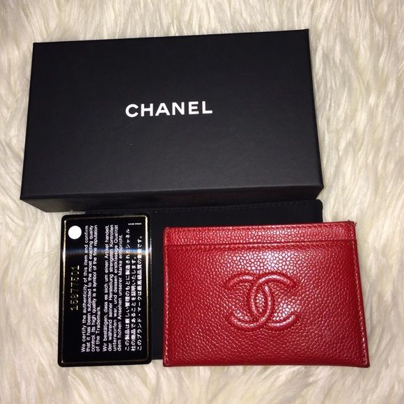 52add89f897d CHANEL Card Case Red Chanel card holder in caviar. Dust bag, box and auth  card included. Minor wear in corners, both pictured. Purchased at Bergdorf  Goodman ...
