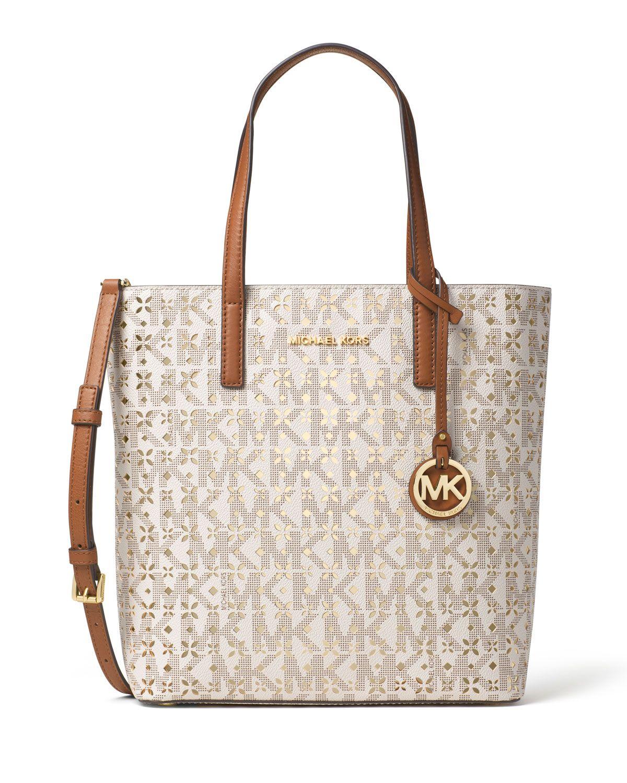 8e8735efc313 MICHAEL Michael Kors Hayley Medium Laser-Cut Logo Tote Bag, Vanilla  (White), Women's