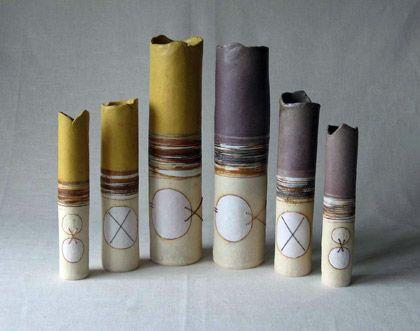 Ceramics by Jayne Lucas at Studiopottery.co.uk -MXS 3 Cylinders, produced in 2007.