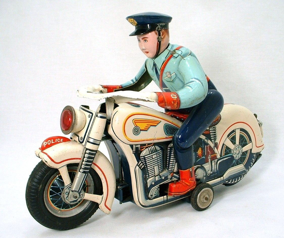 Motorcycle Cop Tin Toy Japan Vintage Toys Antique Toys Toy