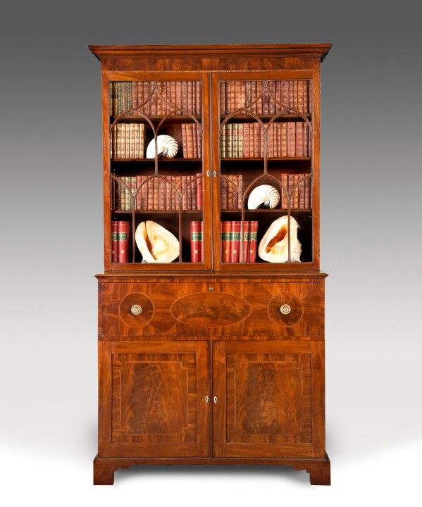 A Sheraton period mahogany veneered secretaire bookcase. Circa 1800. Height: 90 inches. Width: 47.5 inches. Ref: 2147.