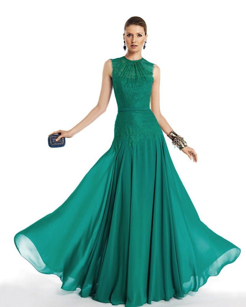 Pronovias fiesta crew neck aline evening dress gown malaysia