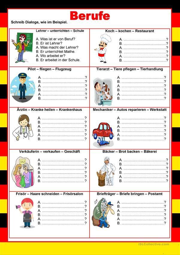 Willkommen auf Deutsch - Berufe - Minidialoge | Deutsch | Pinterest ...