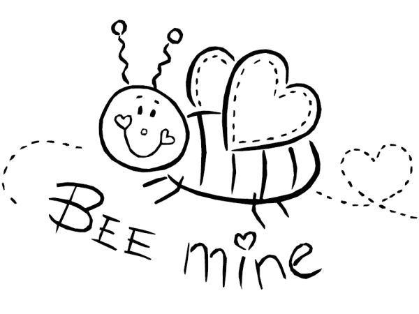 Bee Mine February Coloring Pages Bee Coloring Pages Valentine Coloring Valentines Day Coloring Page