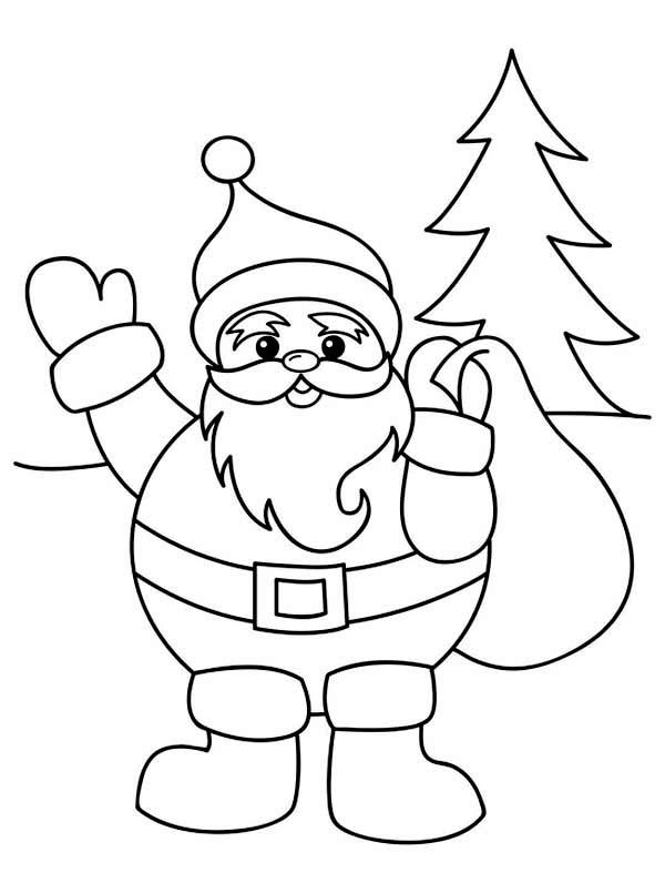 free printable color book pages santa fireman santa claus with christmas sack on his back coloring page