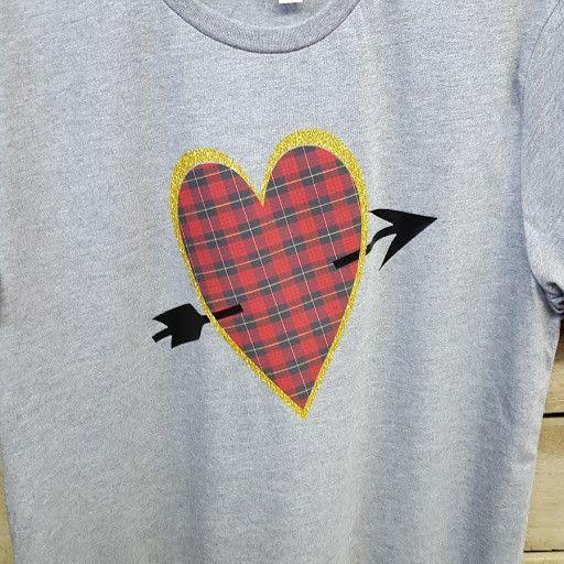 Valentine T shirt - checkered glitter - arrow & heart