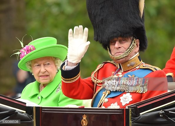 Queen Elizabeth II and Prince Philip, Duke of Edinburgh atend the Trooping the Colour, this year marking the Queen's official 90th birthday at The Mall on June 11, 2016 in London, England. The...
