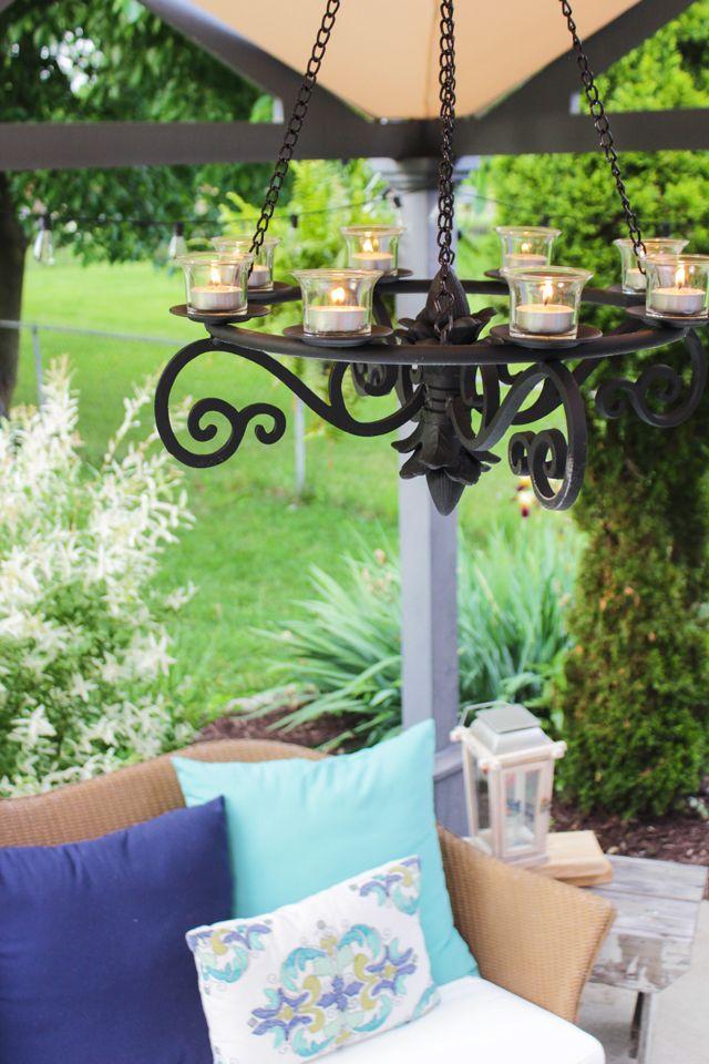 Three Creative Lighting Diys For Your Patio Shades Of Blue Interiors Gazebo Chandelier Gazebo Lighting Outdoor Candle Chandelier