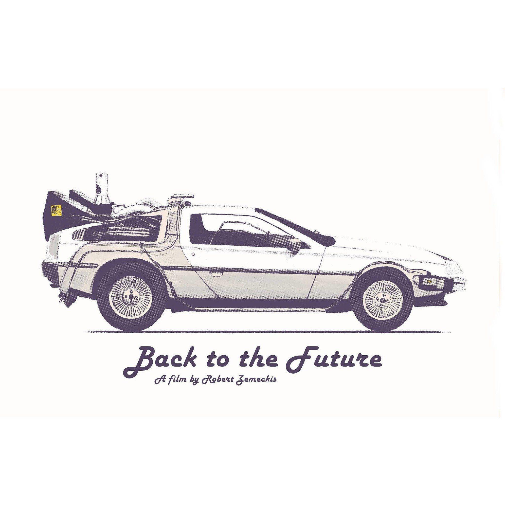 Tribute Art Work Print Of  DeLorean DMC-12 Back To The Future Blueprint