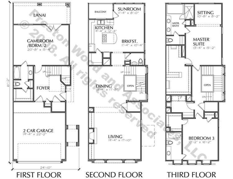 Duplex townhome plan ac8228 plans pinterest town for Two story townhouse plans