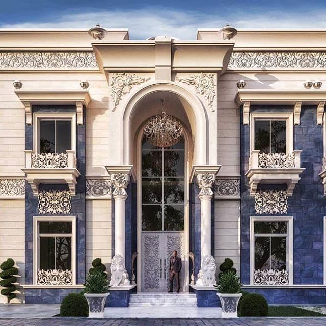 قصر من أعمالنا بنمط النيو كلاسيك استخدمنا الحجر الأبيض مع الرخام الازرق لتغير الزوق ال House Balcony Design Classic House Exterior Classic House Design
