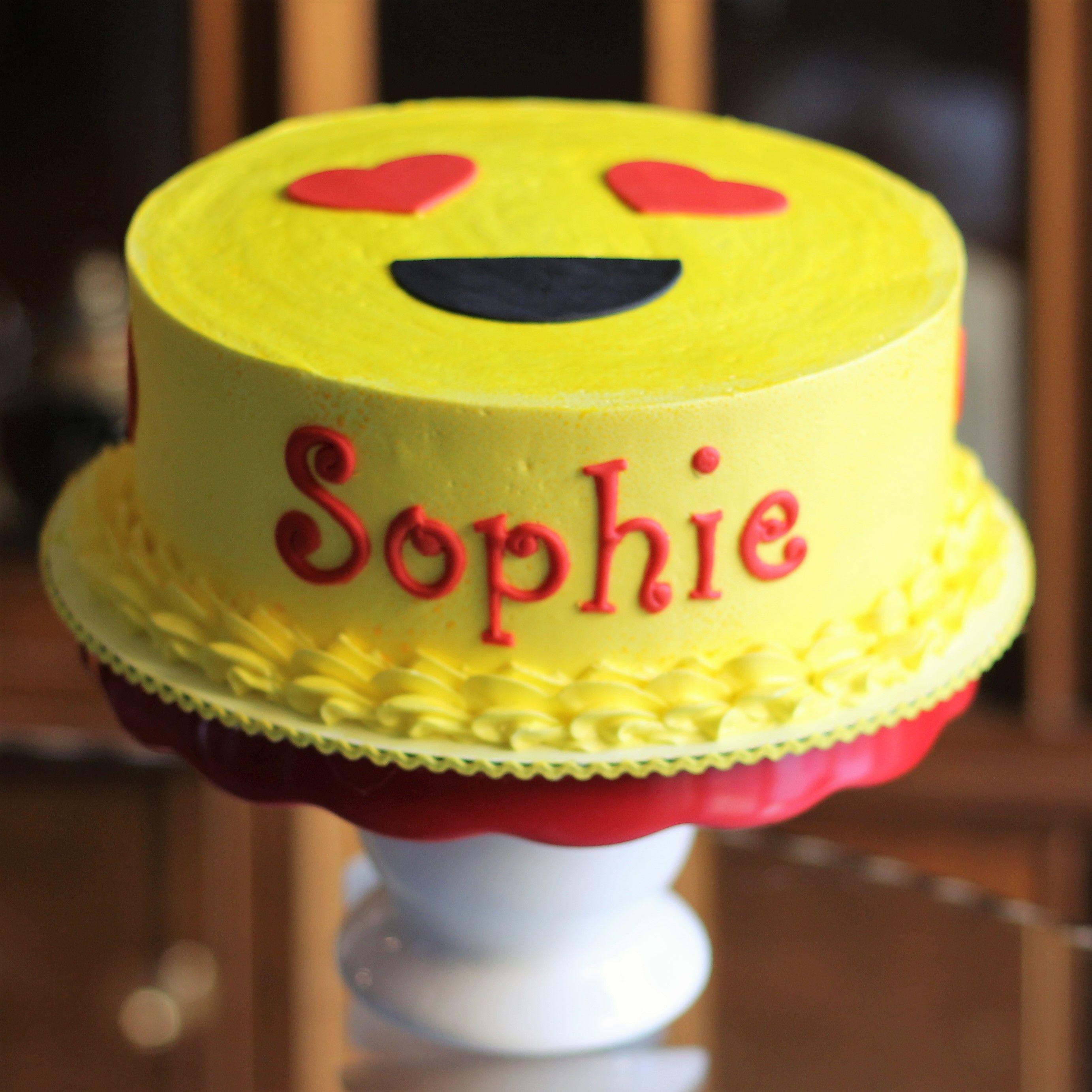 Heart Eyes Emoji Birthday Cake