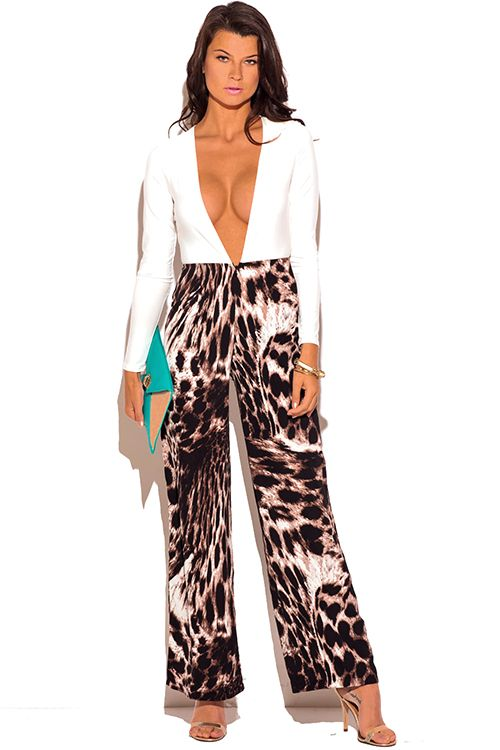 25c28f7236bf Cute cheap white low v neck animal print wide leg 2fer evening party  jumpsuit