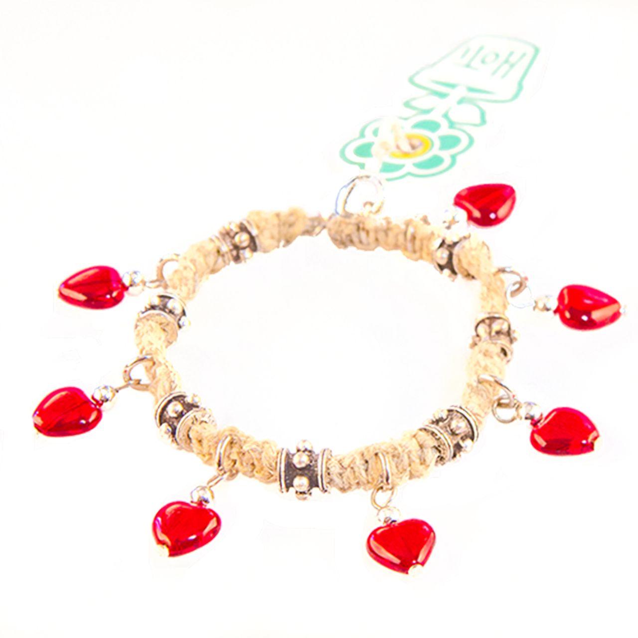 Sunshine On A Cloudy Day  Hoti Hemp I Heart Rock Natural Red Handmade Charm  Bracelet