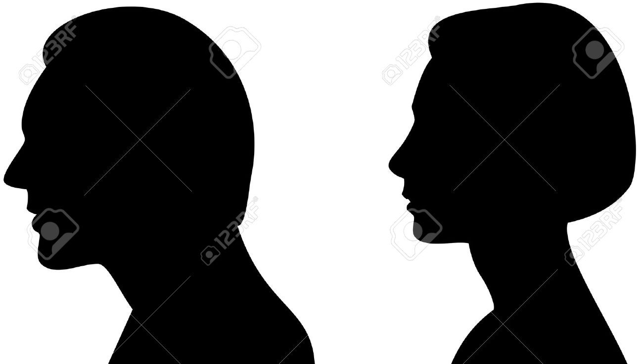 Silhouette Head A Man And Woman Stock s Royalty