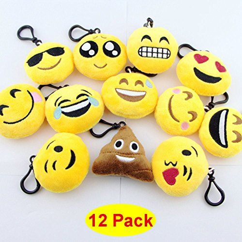 Swity Home 12 Pack Toy Key Chain 2 Inch Mini Emoji Plush Set Of 12 Click Here For More Details Kids Party Supplies Toy Keys Party Bag
