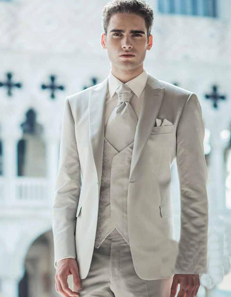 2017 Ivory Classic Mens Suit Peaked Lapel Wedding Suits For Men ...