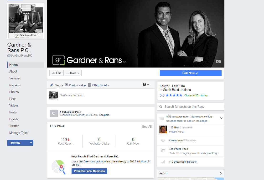 Check Out The Updated Facebook Page For Gardner Rans P C Personal Injury Firm In South Bend I With Images Creative Facebook Cover Facebook Cover Photos Facebook Cover