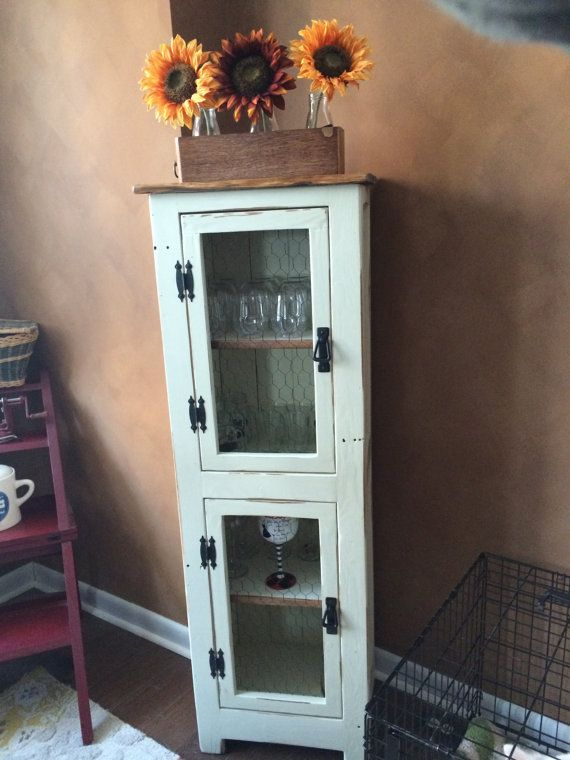 Rustic Pallet Cabinet With Chicken Wire Doors, Jelly Cabinet, Bathroom  Storage, Repurposed,